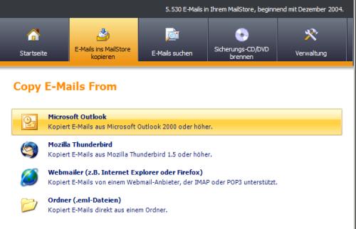 MailStore-Oberfläche aus dem Jahre 2006