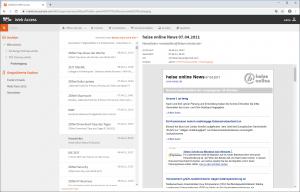 Die WebAccess-Oberfläche von MailStore Server
