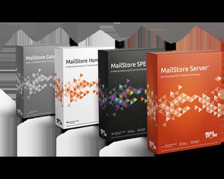 Boxshots von MailStore Server, MailStore SPE, MailStore Home, MailStore Gateway