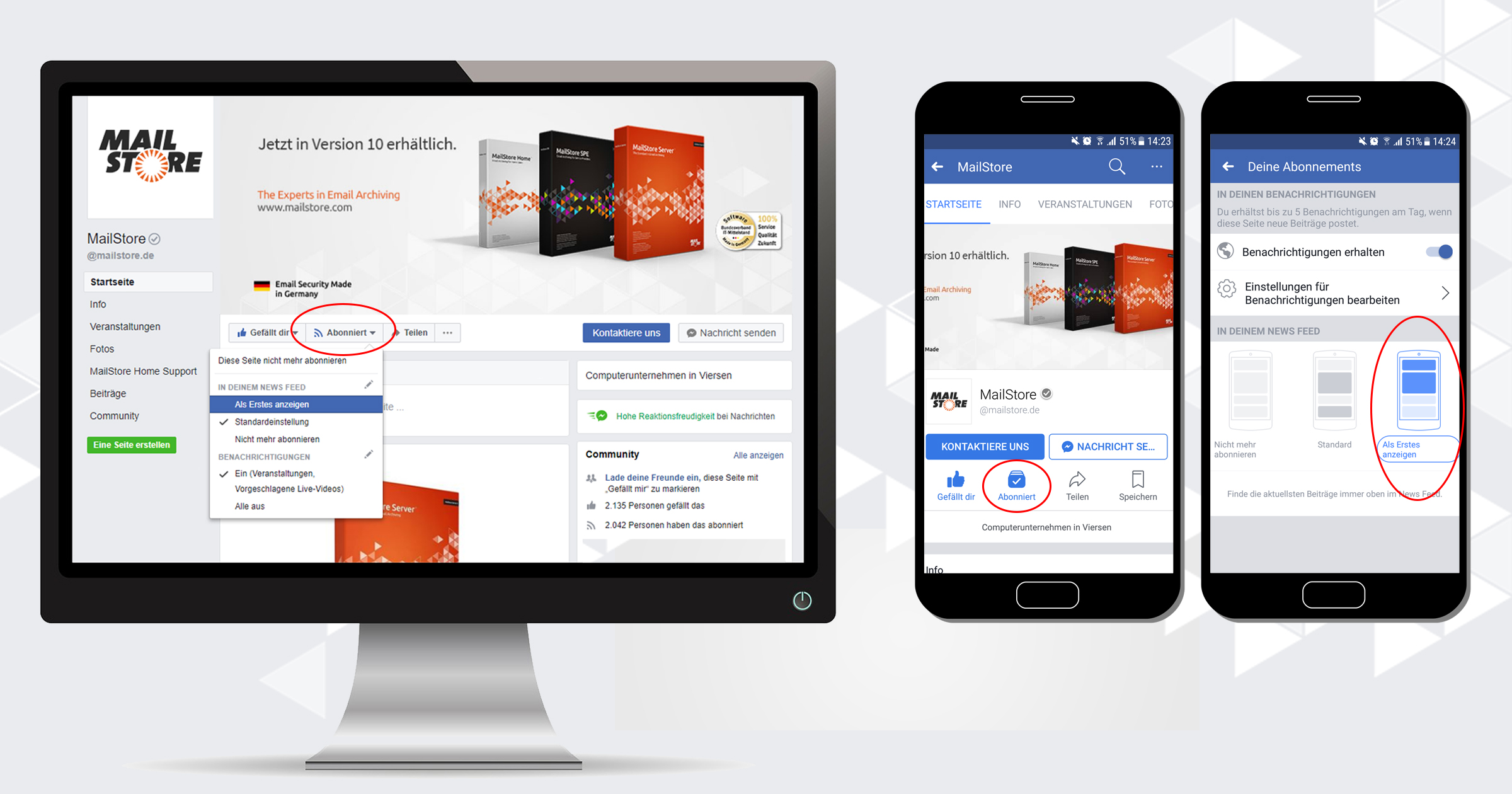 Durch Änderung der Facebook-Einstellungen MailStore News erhalten