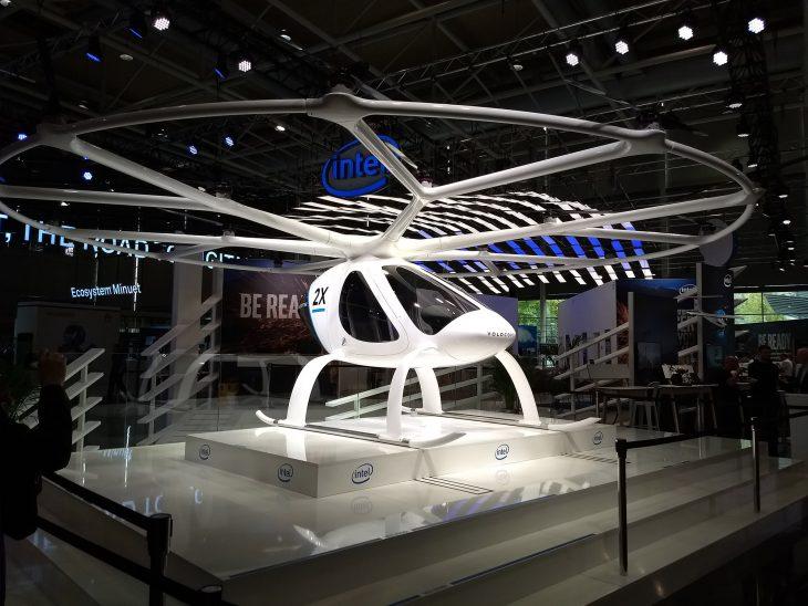 """Der Intel Volocopter im Rahmen des """"Future Mobility""""-Themenbereichs"""