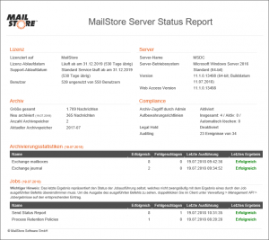 Statusreports in MailStore Server