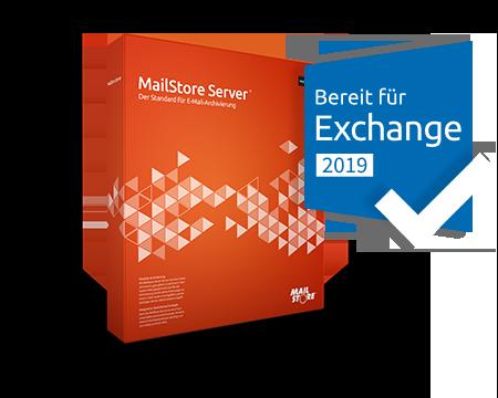 MailStore Server Box mit Badge Bereit für Exchange 2019