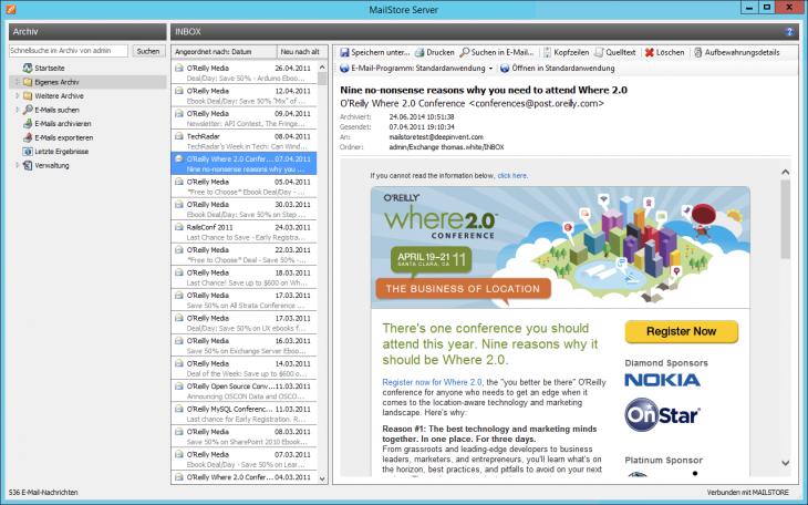 Screenshot Archive über die MailStore Client-Software aufrufen