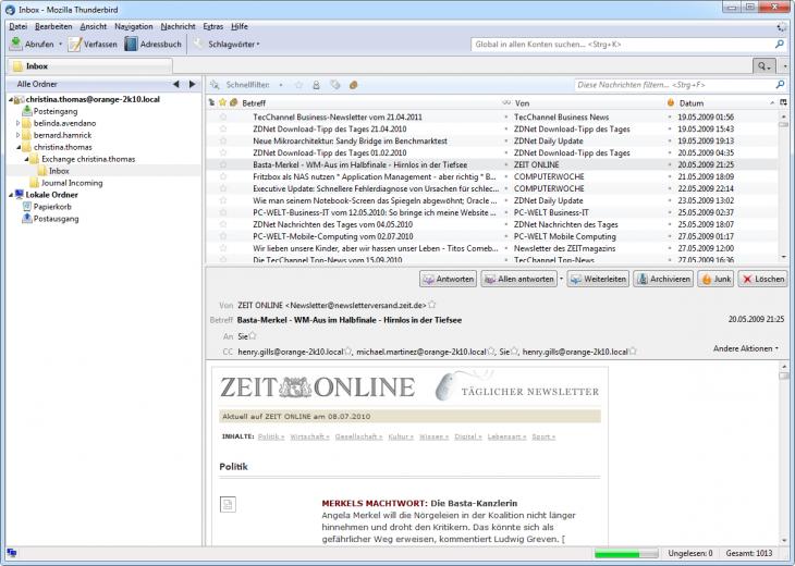 Screenshot Zugriff über den integrierten MailStore IMAP-Server