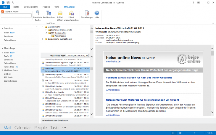 Screenshot Zugriff über das MailStore Outlook Add-in