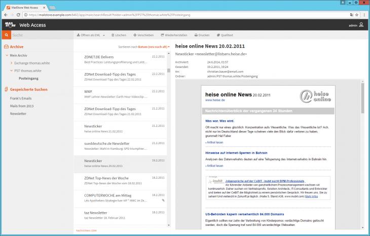 Screenshot Browserbasierter Zugang mit dem MailStore Web Access