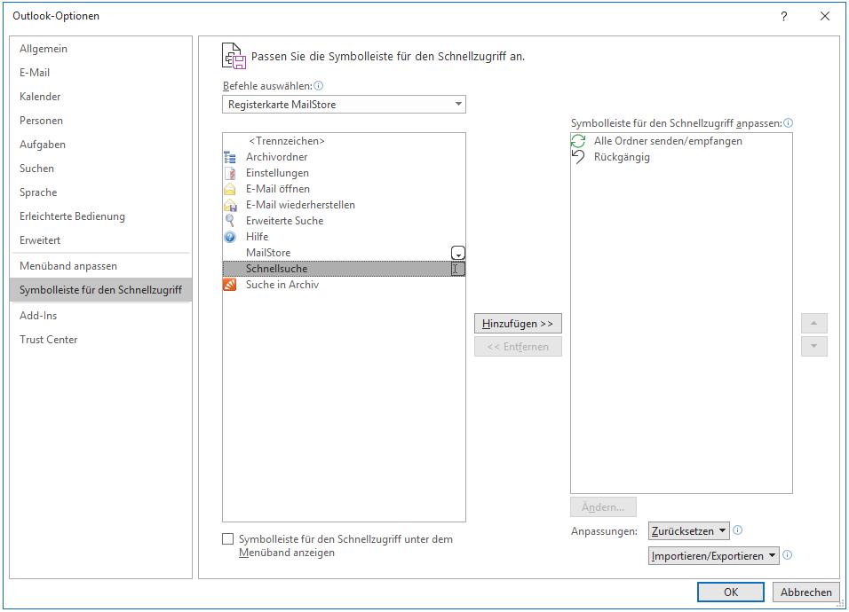 Ansicht des Schnellzugriffs im Microsoft Outlook Add-in