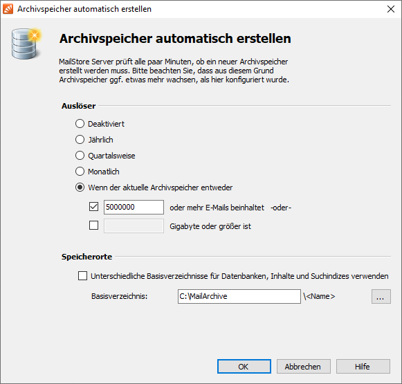 Konfiguration Archivspeicher