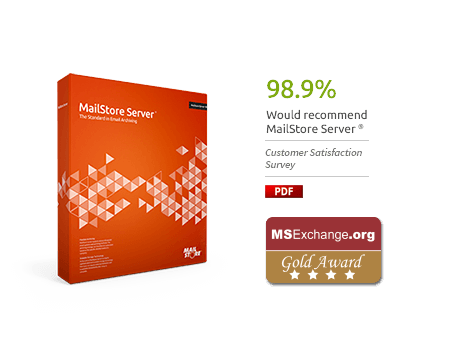 MailStore Server Box with Customer Satisfaction Survey 2016 Results and MSExchange.org Gold Award Badge