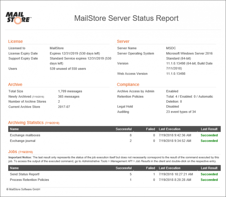 Status report of MailStore Server