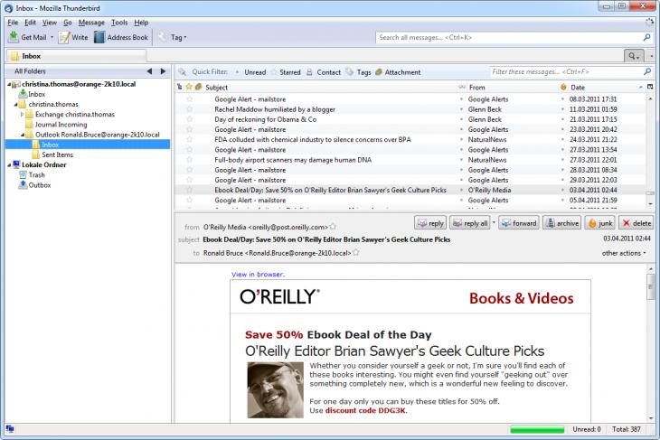 Screenshot Access via an integrated IMAP server