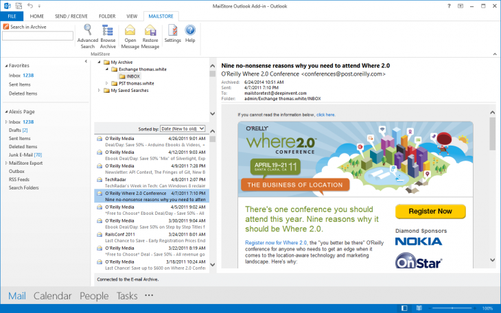 Screenshot Accessing the Archive via Microsoft Outlook Integration