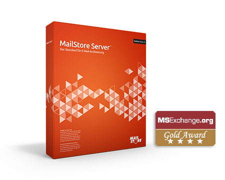 MailStore Server Box with MSExchange.org Gold Award Badge