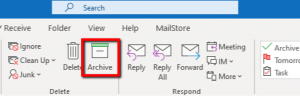 The archive button in Outlook ribbon